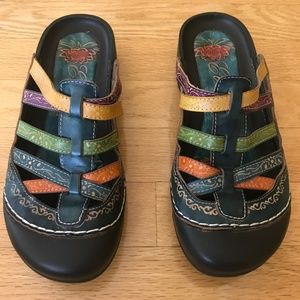Elite by Corkys Colorful Leather Clog Sandal SZ 9